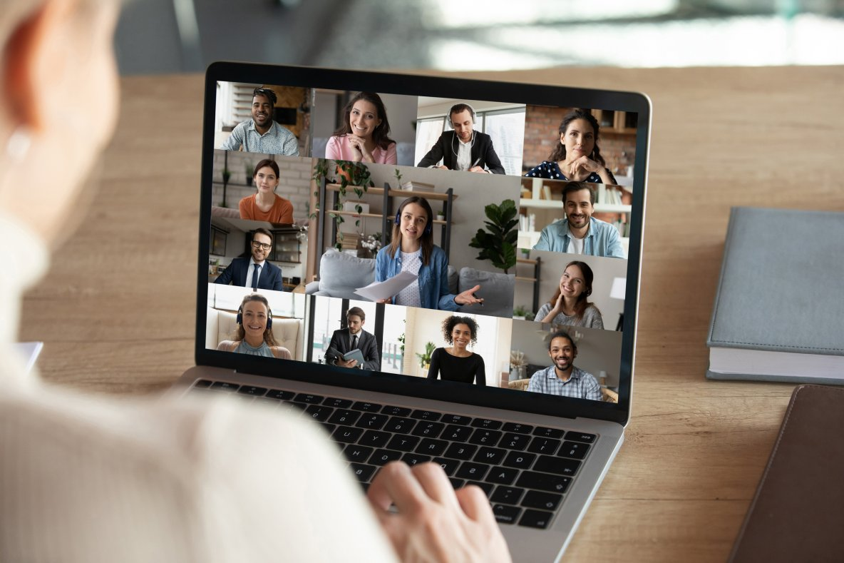 Woman on video call with colleagues